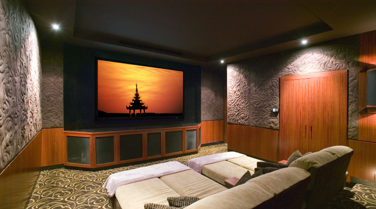 A 110-inch Stewart grey screen and reclining chairs bedroom, ceiling, interior design, room, suite, wall, brown, black