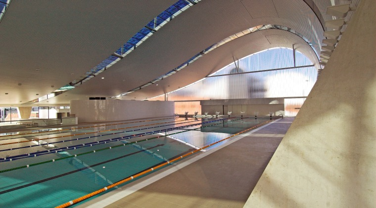 A view of the Interior of the Ian architecture, daylighting, indoor games and sports, leisure, leisure centre, line, sport venue, structure, swimming pool, gray, brown