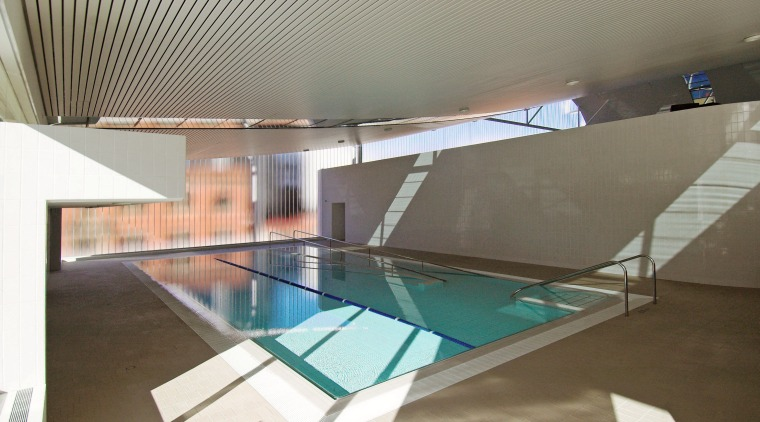 A view of the Interior of the Ian architecture, ceiling, daylighting, glass, house, interior design, leisure centre, property, real estate, swimming pool, gray