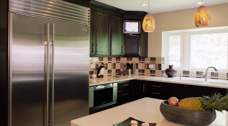 view of kitchen by Insignia Kitchen and Bath cabinetry, countertop, interior design, kitchen, room, window, gray