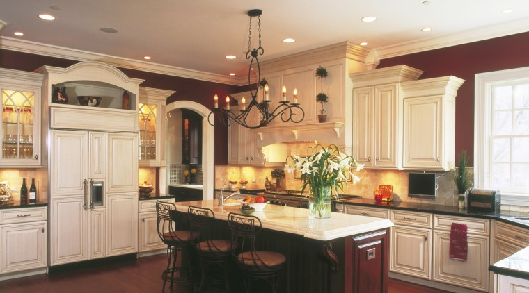 View of winning kitchen design by Insignia Kitchen cabinetry, ceiling, countertop, cuisine classique, floor, flooring, hardwood, interior design, kitchen, laminate flooring, lighting, room, wood flooring, red, orange, white