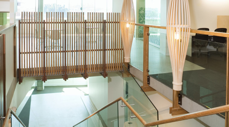 A view of the staircase featuring glass balustrading architecture, ceiling, floor, flooring, glass, house, interior design, room, gray