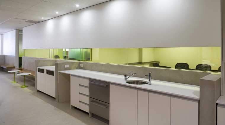 An interior view of the office building  cabinetry, countertop, interior design, kitchen, product design, gray