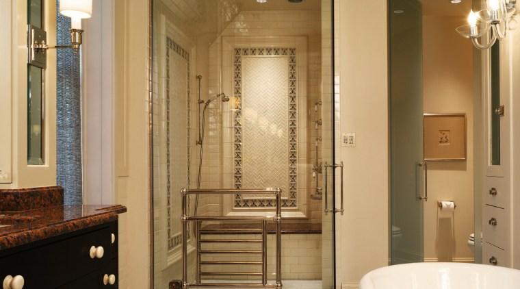 A view of this bathroom designed by Marshall bathroom, ceiling, estate, floor, flooring, home, interior design, room, tile, brown, orange