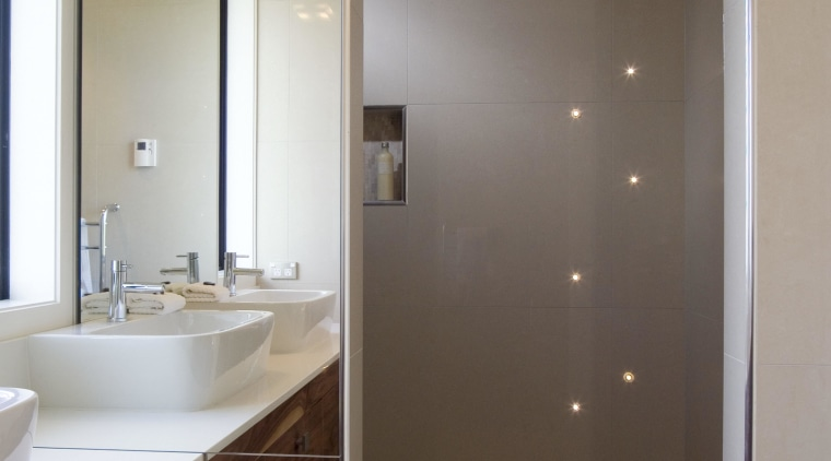A view of some bathroom tiles from the bathroom, bathroom cabinet, ceiling, floor, glass, home, interior design, lighting, room, sink, brown, gray