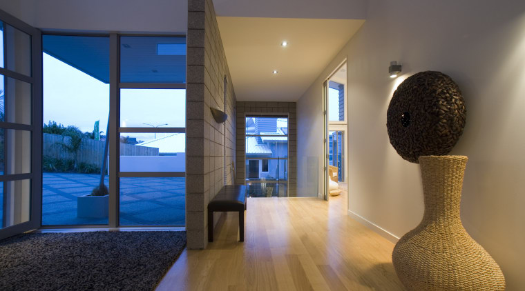 The sweedish oak floors are finished with a architecture, ceiling, estate, floor, home, house, interior design, property, real estate, brown