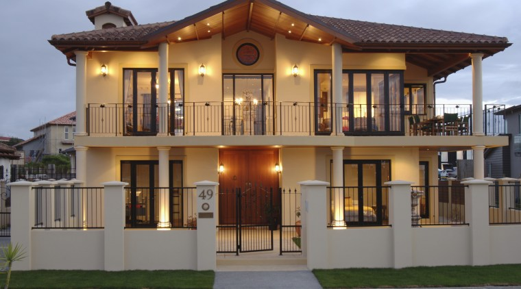 A view of a home designed by MF balcony, building, elevation, estate, facade, home, house, property, real estate, residential area, villa