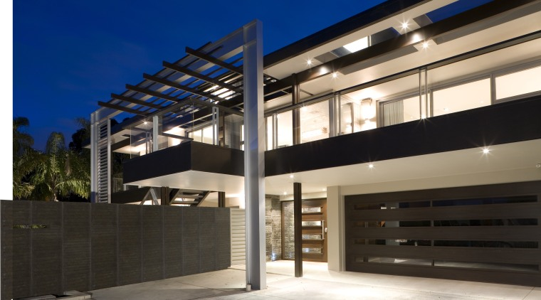 A view of a home by Santa Barbara architecture, building, corporate headquarters, daylighting, facade, house, property, real estate, black