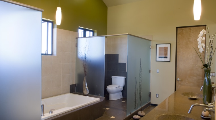 A view of this bathroom featuring tiled flooring, architecture, bathroom, ceiling, daylighting, home, house, interior design, real estate, room, brown
