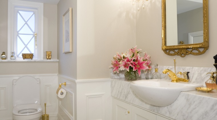 Creating a sense of luxury is largely to bathroom, bathroom accessory, ceiling, floor, flooring, home, interior design, plumbing fixture, room, sink, tile, wall, gray
