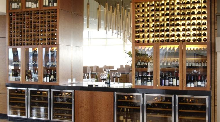 Vintec wine cabinets enhance the professional ambience of café, countertop, interior design, kitchen, liquor store, restaurant, wine cellar, winery, brown