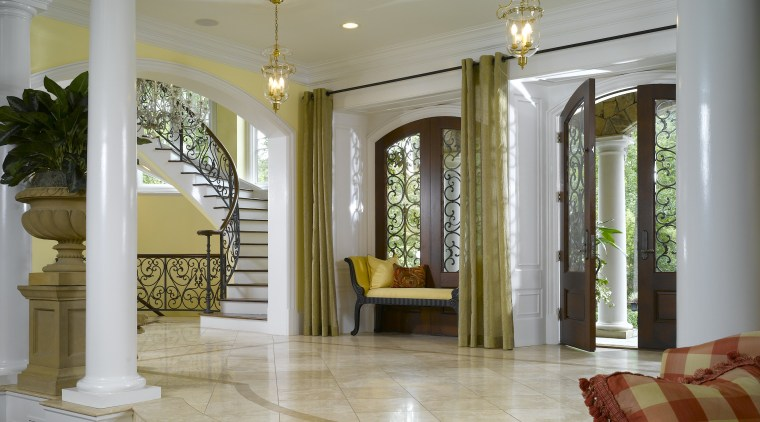 View of entrance, marble floor, wrought iron handrail, ceiling, column, daylighting, estate, floor, flooring, hardwood, home, interior design, living room, lobby, real estate, structure, window, wood flooring, gray, brown