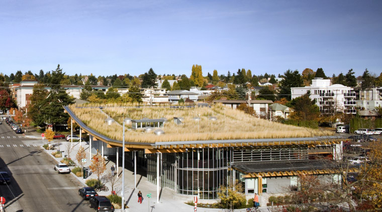 View of the Ballard Library and Neighborhood Service city, construction, home, real estate, residential area, roof, sky, suburb, urban area, teal