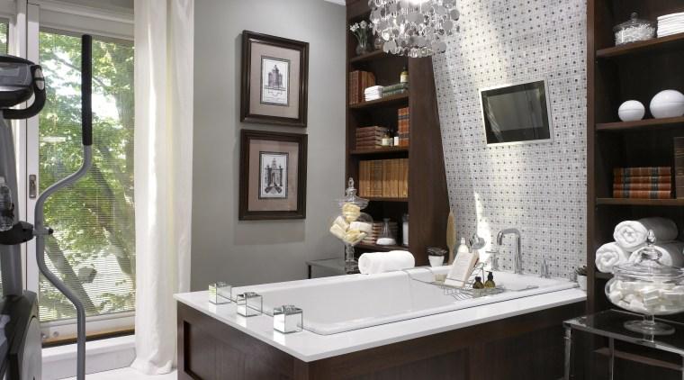 A view of this bathroom featuring Silestone Quartz bathroom, furniture, interior design, room, window, white, black, gray