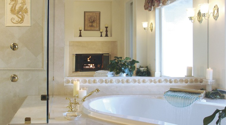 A view of this bathroom featuring handcrafted ceramic bathroom, estate, floor, home, interior design, property, room, wall, window, gray