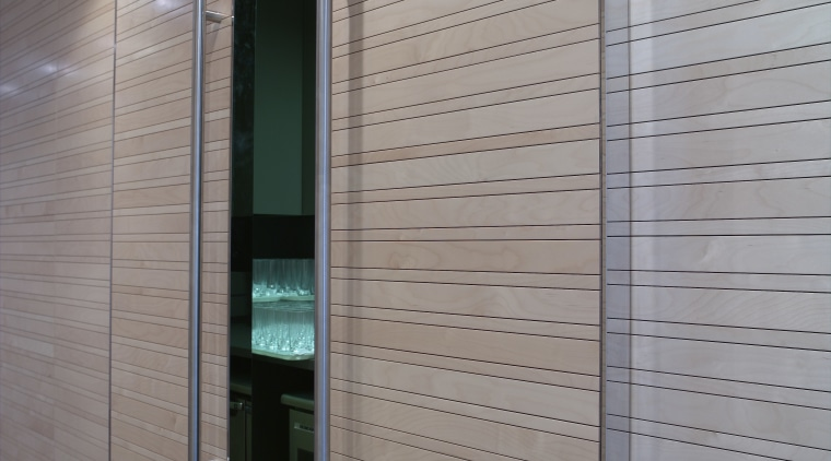 Timber slats, veneer panels and polyurethane were installed architecture, ceiling, daylighting, door, facade, floor, glass, interior design, wall, wood, gray