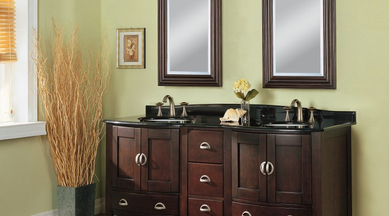 A view of some bathroom vanities by Fairmont bathroom, bathroom accessory, bathroom cabinet, cabinetry, chest of drawers, furniture, plumbing fixture, room, sink, yellow, black