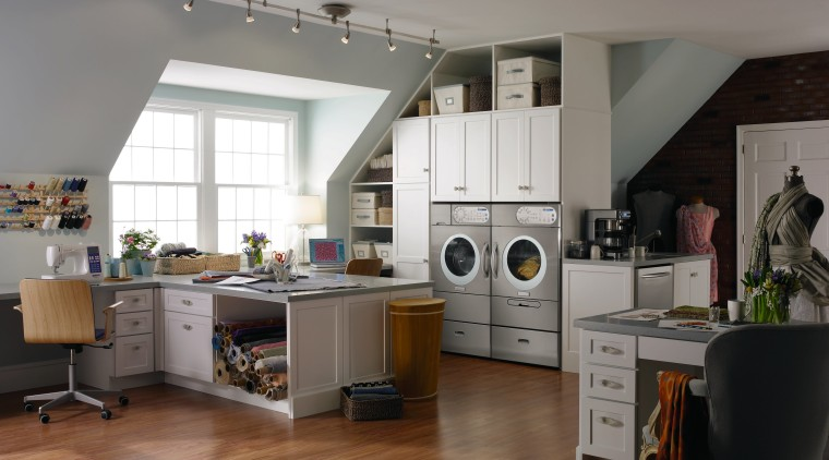A view of this niche built in laundry countertop, cuisine classique, interior design, kitchen, room, gray