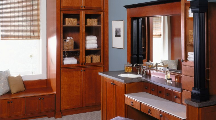 A view of these Luxury Bathrooms featuring stained cabinetry, countertop, cuisine classique, furniture, interior design, kitchen, room, gray, red