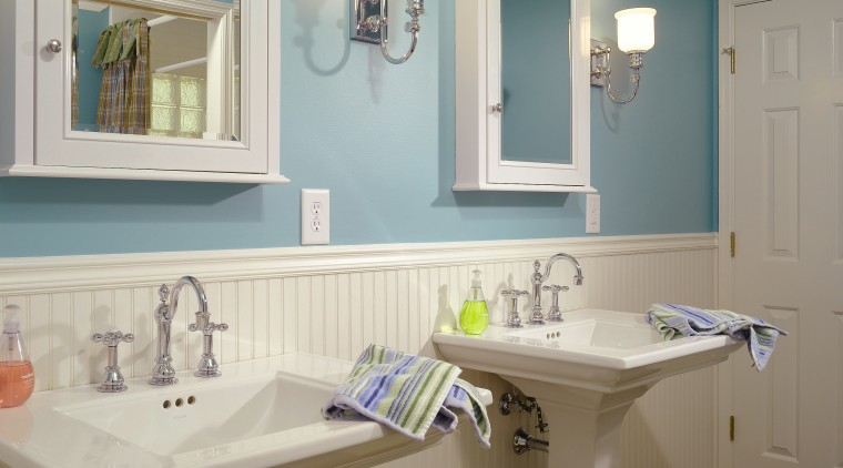 A view of this childrens bathrom designed by bathroom, bathroom accessory, floor, home, interior design, plumbing fixture, room, sink, window, gray