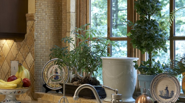 View of kitchen featuring cabinetry, granite countertops, sinks, bathroom, countertop, home, interior design, kitchen, room, window, brown