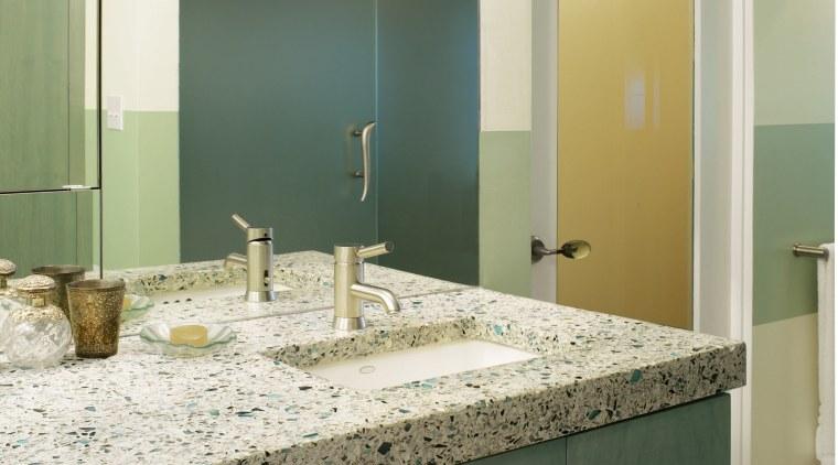 A view of some vanities from vetrazzo. bathroom, countertop, floor, glass, home, interior design, room, sink, tile, wall