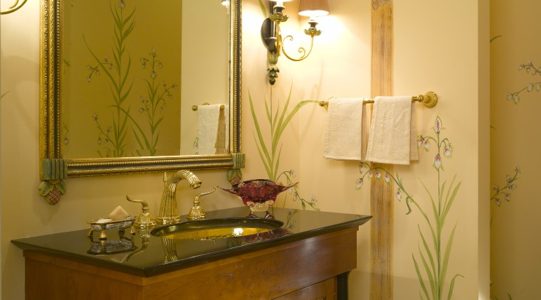 Hand-painted botanical drawings on the walls enliven the bathroom, furniture, home, interior design, room, wall, brown, orange