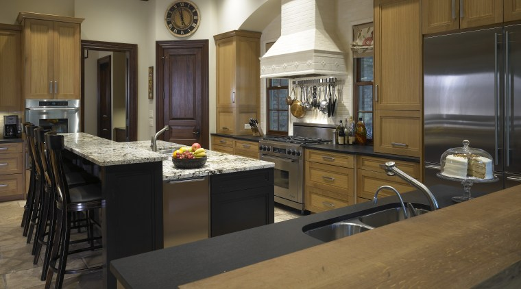 view of family kitchen which was designed by cabinetry, countertop, cuisine classique, flooring, interior design, kitchen, room, brown, black