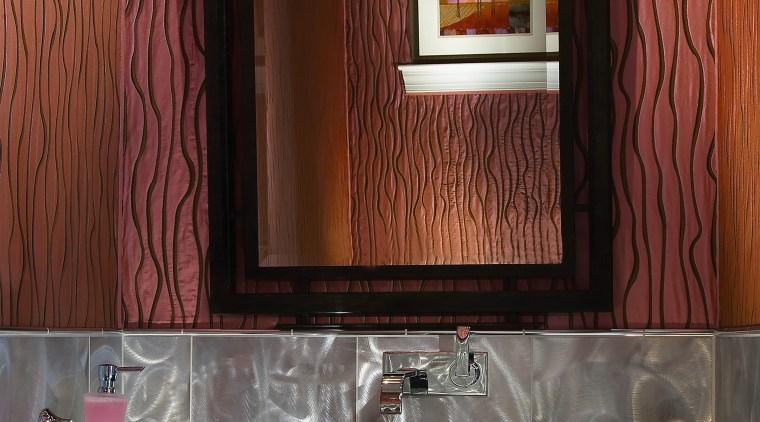 View of bathroom designed by NKBA designers including bathroom, furniture, interior design, light fixture, lighting, room, wall, red