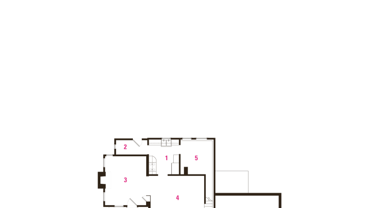 1 kitchen, 2 pantry, 3 living room, 4 angle, area, design, diagram, font, line, product, product design, rectangle, text, white
