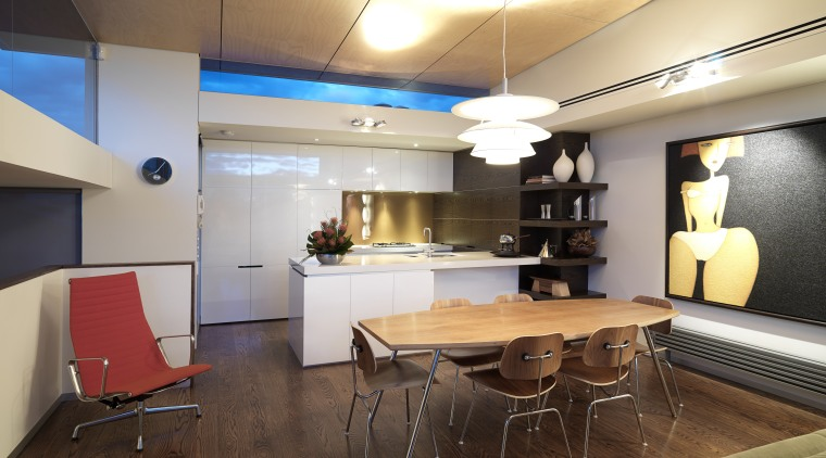 View of kitchen designed by Nicholas Murray featuring ceiling, interior design, loft, real estate, room, table, brown