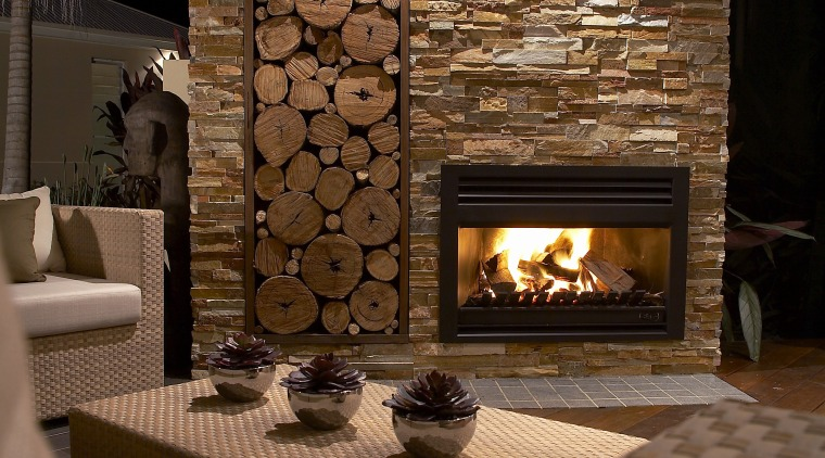 View of fire place by Heatmaster fireplace, floor, flooring, hearth, home, interior design, living room, wood burning stove, brown