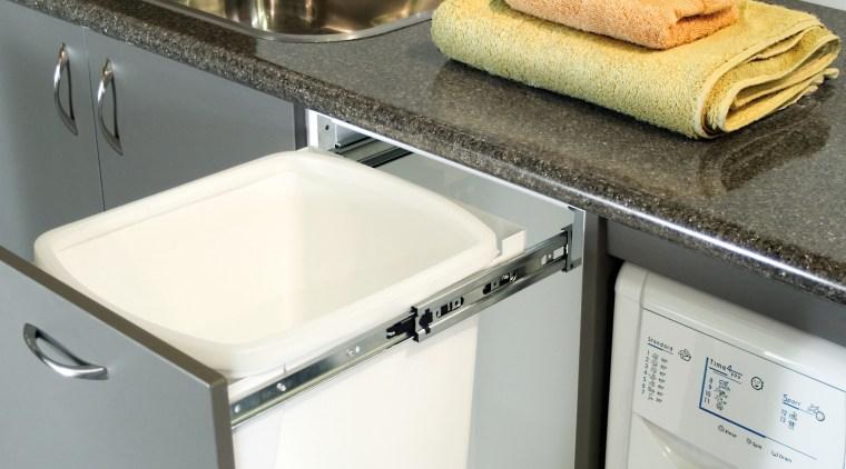 View of hideaway bin. countertop, home appliance, kitchen, kitchen appliance, major appliance, product design, sink, small appliance, gray