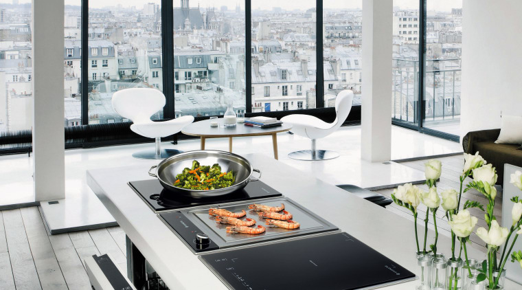 View of kitchen appliances by De Dietrich. furniture, interior design, product design, table, white, gray