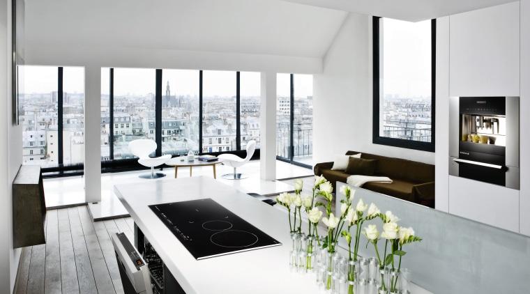 The 2008 range includes a fully automatic coffe architecture, interior design, product design, table, white, gray
