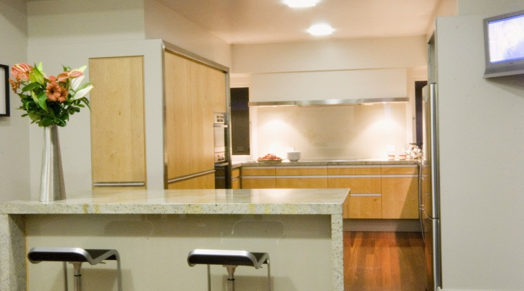 View of kitchen designed by D Stevens Ltd, architecture, cabinetry, ceiling, countertop, daylighting, floor, flooring, furniture, hardwood, home, interior design, kitchen, laminate flooring, lighting, living room, real estate, room, table, wall, wood, wood flooring, brown, gray