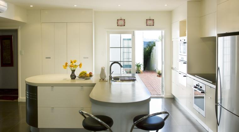 View of art deco kitchen designed by Pailine countertop, cuisine classique, home, interior design, kitchen, real estate, room, white