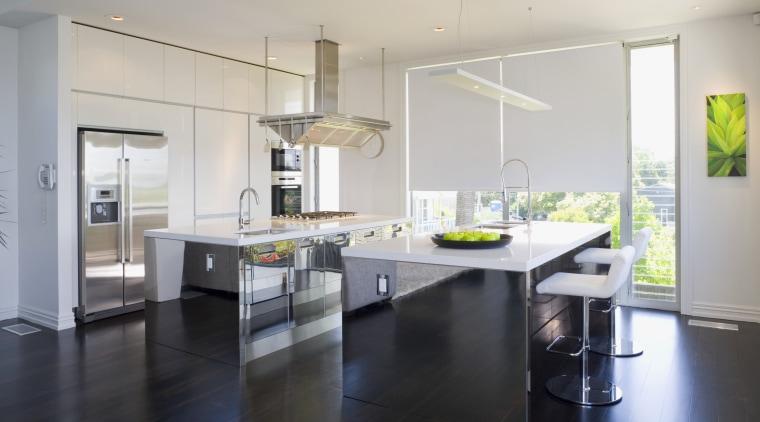 View of kitchen by John kitchenmakers. countertop, floor, flooring, interior design, kitchen, real estate, gray, black