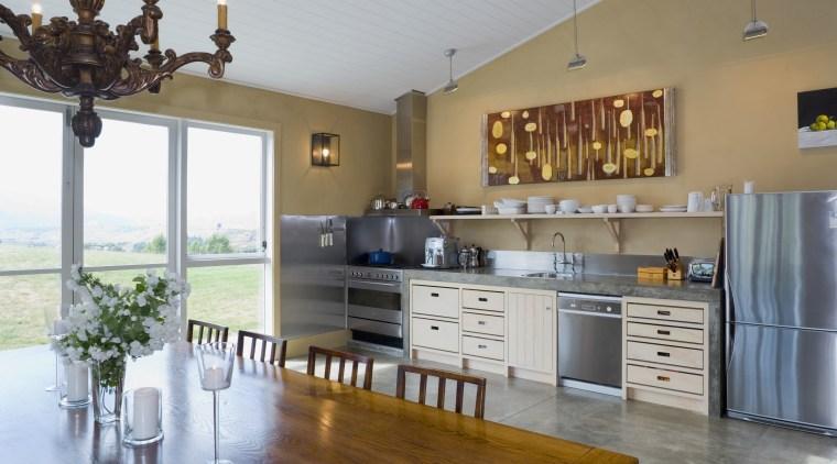 View of kitchen, doors and windows, tiling, lights, countertop, cuisine classique, floor, flooring, hardwood, interior design, kitchen, real estate, room, gray, brown