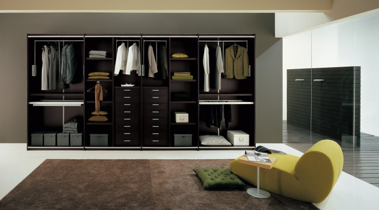 View of wardrobe system Prestige Designs. bookcase, furniture, interior design, living room, product design, room, shelf, shelving, black