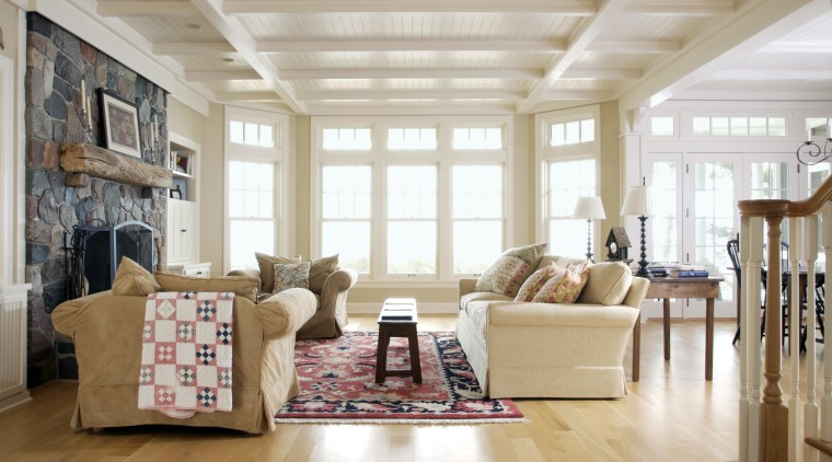 View of a house designed by Burns + ceiling, floor, flooring, furniture, hardwood, home, interior design, living room, room, window, wood, gray