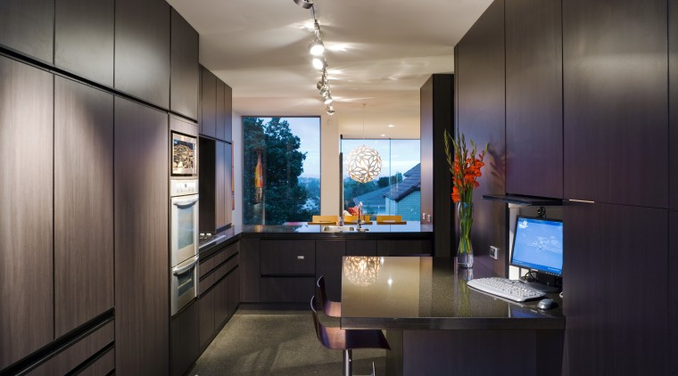 Kitchen inside contemporary home with black granite benchtops architecture, interior design, real estate, room, black, gray