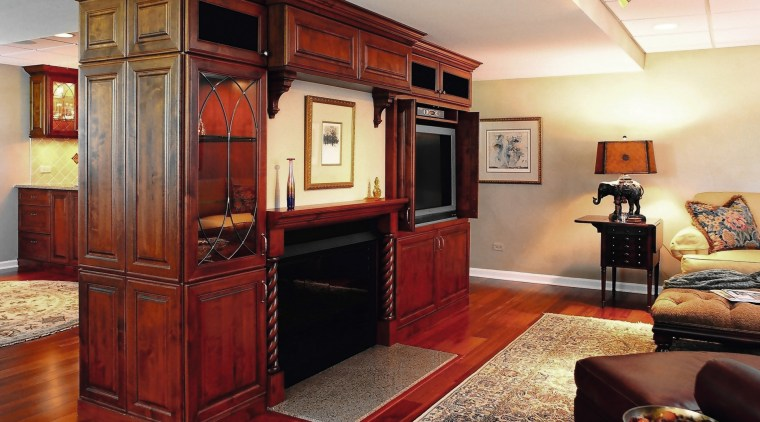View of Insignia Kitchen & Bathroom Design Group cabinetry, furniture, hardwood, interior design, living room, room, red