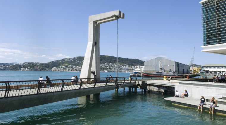 View of wellington waterfront, walkway linking to a bridge, fixed link, sea, sky, swimming pool, water, waterway, teal