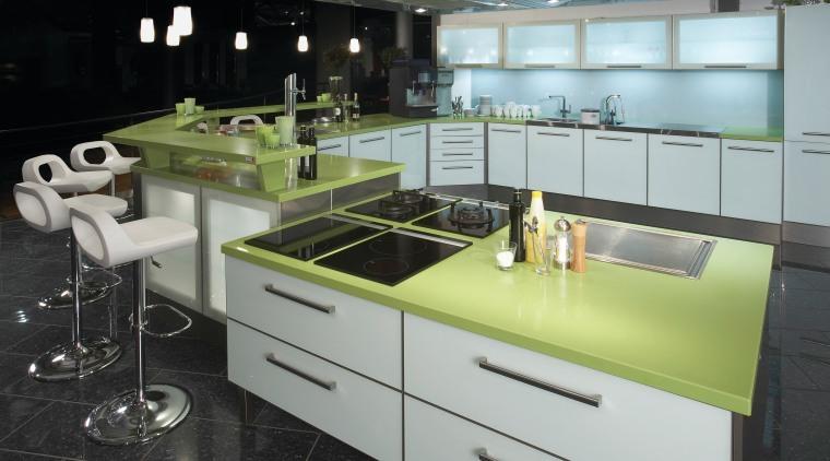 Image of the new Life Series Silestone Quartz countertop, furniture, interior design, kitchen, product design, gray, black