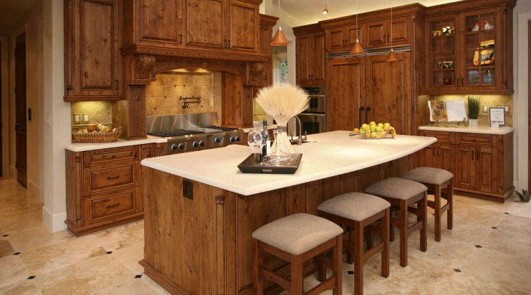 Alder wood cabinetry kitchen cabinetry, countertop, cuisine classique, floor, flooring, furniture, hardwood, interior design, kitchen, room, wood, wood flooring, wood stain, brown, orange