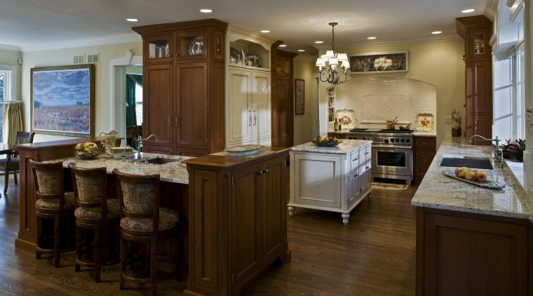 View of kitchen by Drury Kitchen design & cabinetry, countertop, cuisine classique, flooring, hardwood, interior design, kitchen, room, brown, gray