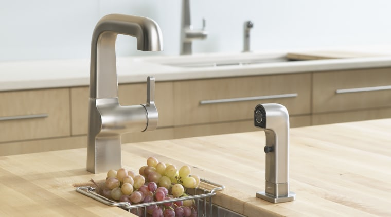 The Kohler Evoke faucet can be paired with countertop, kitchen, plumbing fixture, product design, sink, tap, white
