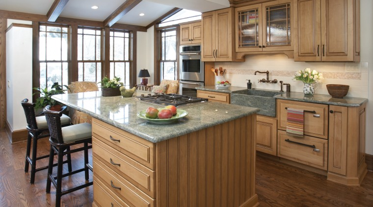 Traditional wood maple cabintery kitchen with granite countertops, cabinetry, countertop, cuisine classique, floor, flooring, hardwood, interior design, kitchen, laminate flooring, room, wood flooring, brown, gray