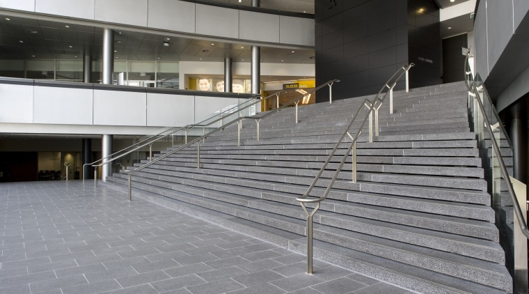 View of paving by AJ Russel Bricklayers & architecture, building, daylighting, facade, floor, flooring, glass, handrail, metropolitan area, stairs, structure, gray